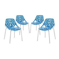 """LexMod - Stencil Dining Side Chair Set of 4 in Blue - Stencil Dining Side Chair Set of 4 in Blue - Find your inner catalyst with this activating dining chair. Watch as a tree is carefully depicted in Stencil's telling journey between enigmatic forests and song-filled remembrances. Let sunlight filter through and nurture experiences of enduring light. Set Includes: Four - Stencil Chair Organic leafy forest motif, Either indoor or outdoor use, Modern dining or accent chair, Chrome plated steel base, Molded plastic seat, Stackable Overall Product Dimensions: 21""""L x 21""""W x 31""""H Seat Height: 16.5""""H - Mid Century Modern Furniture."""