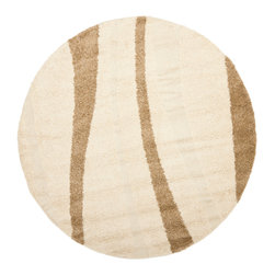 Safavieh - Parma Area Rug, Cream / Dark Brown 4' X 4' Round - Graceful reeds appear to be carved in the contemporary Willow Shag rug crafted with a new high and low pile sculptural weave.  This beautiful rug is power-loomed of long-wearing polypropylene for easy care and outstanding performance.