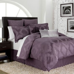 Royal Heritage Home/bloomcraft Home - Circa 4-Piece Comforter Set - Relaxed and urban, the Circa comforter features a beautifully colored amethyst ground with a richly textured jacquard weave. A Moroccan motif gives this set a distinctive international flavor that will turn your bedroom into a cozy, sophisticated retreat.