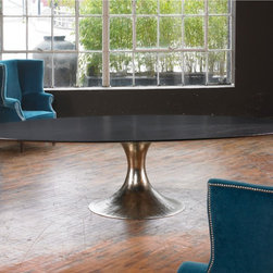 Tables to dine for! - Shown here in Polished Nickel base with Black Stained Oak top.  Nickel base available separately.