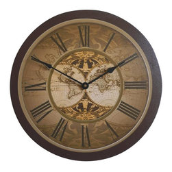 """Tyler - Old World Map Wall Clock, 18"""" - Made in USA-Made when Ordered"""
