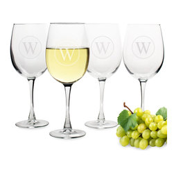None - Personalized Circle Initial White Wine Glasses (Set of 4) - Serve a delicious glass of pinot grigot or chardonnay in this must-have wine lover's glass set. Crafted with hand-blown glass,these white wine drinking vessels feature over-sized bowls and are personalized with a circled initial design.