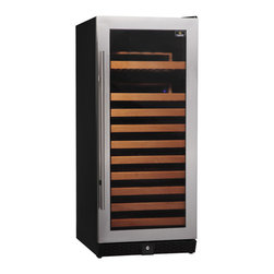 KingsBottle - 100 Bottle Compressor Single Zone Wine Cooler, Stainless Steel - This beautiful single zone compressor wine cellar can accommodate 100 of your favorite bottles. It offers two display shelves and 8 standard storage shelves. Each one has a glass door with seamless stainless steel door trim and features a blue LED lighting system. This ingenious design can be accommodated as a free standing unit or it can be built in to any custom cabinetry with no need to leave additional space for venting.
