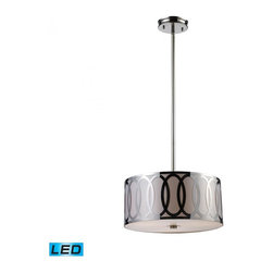 ELK Lighting - Three Light Polished Nickel Drum Shade Pendant - Three Light Polished Nickel Drum Shade Pendant