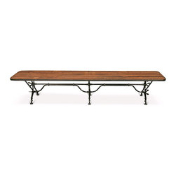 Kathy Kuo Home - Sounio Industrial Loft Reclaimed Pine Iron Dining Bench - Natural reclaimed pine is reminiscent of tropical surfboards and laid back island elegance. Painted iron, ornately detailed legs and braces add industrial flair to this eclectic bench that's at home in a bedroom, sitting area or entryway.