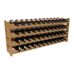 Wine Racks America - 48 Bottle Scalloped Wine Rack in Pine, Oak Stain - Stack four cases of wine in a decorative 48 bottle rack using pressure-fit joints for easy assembly. This rack requires no hardware, no tools, and is ready to use as soon as it arrives. Makes for a perfect gift and stores wine on any flat surface.