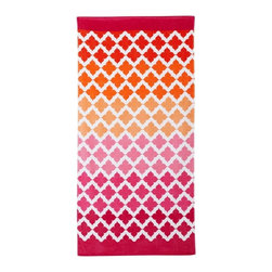 Beach Mosaic Warm Beach Towel - Who knew you could find beach towels with grown-up style at PBteen? This mosaic patterned towel has a warm rainbow ombré colorway that I love.