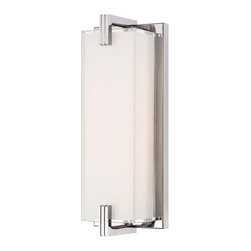 George Kovacs - Cubism Chrome LED 12.75-Inch Bath Vanity Fixture - - Cubism 48 Light LED Bath Light with Mitered Glass, White Inside  - Bulb Included: Yes  - Install Position: Can be installed vertically or horizontally George Kovacs - P5219-077-L