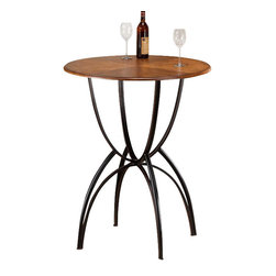 "Hillsdale Furniture - Hillsdale Pacifico 34x34 Bar Bistro Table - Black metal with copper highlights mix with wood finished in a Honey Maple tone to accomplish the cool, refreshing look of Hillsdale's Pacifico Bistro collection. A generous 34"" round table top is supported by a unique base built with interlocking half spheres. Clean lines with just enough curve, versatile beige microfiber cushioned seats, and neutral finishes make this transitionally designed ensemble perfect for your bar, dining room or eat in kitchen. Constructed of sturdy fully welded heavy gauge metal, wood, climate controlled wood composites and veneers. Assembly required."
