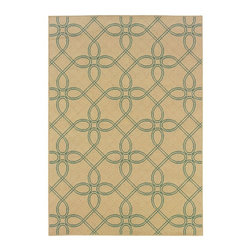"Oriental Weavers - Indoor/Outdoor Montego 8'6""x13' Rectangle Ivory-Blue Area Rug - The Montego area rug Collection offers an affordable assortment of Indoor/Outdoor stylings. Montego features a blend of natural Brown-Green color. Machine Made of Polypropylene the Montego Collection is an intriguing compliment to any decor."