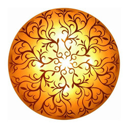 Jeffan International - Nancy Medium Wall Mount Light w Painted Round Shade - Create a warm, inviting interior design with this artistic wall lamp, featuring a round fiberglass shade highlighted by intricate airbrushed detailing for added visual interest. Both elegant and innovative, the lamp is finished in amber and will be an intriguing addition to a hall, entry or great room. Bulb not included. Unique lighting for creating great ambiance. Recognized by HGTV for its innovative design. Natural colored frame. The intricate design is then airbrushed onto frame. Used in traditional or transitional spaces. 7 ft. electrical cord with on/off switch. Requires five 40/60 watt bulb. Made in Indonesia. Made from fiberglass. No assembly required. 31 in. L x 31 in. W x 8 in. H (33 lbs.)