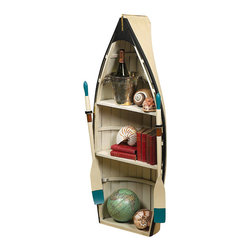 """Inviting Home - Dory Boat Bookshelf or Boat Table with Glass Top - Dory boat can be used two ways; as a bookshelf or as a glass topped table. Two oars glass top and wooden stand included 15-3/4""""x 19-1/2""""x 47""""H Our Dory boat can be used two ways; as a bookshelf or as a glass topped table. Two oars glass top and wooden stand included. Use as table and fill inside with beach finds or upright to display your shells and books. Boat made of crackle finished wood. *large package surcharge"""