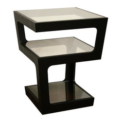 Wholesale Interiors - 3-Tiered Clara Modern End Table in Black Finish - A unique side table option, this contemporary table offers triple tempered glass surfaces for storage and display. The black oak frame descends from the top surface to the bottom in two opposite corners for each level, leaving each space with a wider gap for easy access. The design includes a width that tapers as it descends from top to bottom. The table is made with MDF wood featuring a black oak veneer.