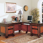 Coaster - Black / Cherry Traditional Desk - This L-shaped desk features a contrasting two-tone finish, five storage drawers, including a file drawer with ample space for your files and computer.