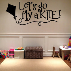 Lets go fly a kite! Vinyl Wall Decal hd083, Metallic Bronze, 18 in. - Vinyl Wall Quotes are an awesome way to bring a room to life!