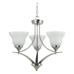 Sea Gull Lighting - Sea Gull Lighting 31173 Brockton Three Light Chandelier - This chandelier from the Brockton Collection has an aviation inspired design that melds traditional and contemporary elements for a final style that will enhance any room's decor.Features:
