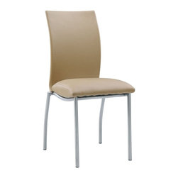 Global Furniture - Dining Side Chair, Beige - Combining simplicity and style these beige dining chairs feature a plush seat, curved back and silver legs .
