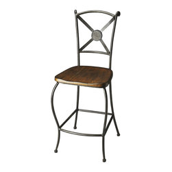 Butler Furniture - Sedgwick Metal & Wood Bar Stool - Featuring wrought-iron legs, stretcher and seatback finished in black with light etching on the X-shaped back, this no-nonsense Bar Stool is built to last with a contoured, solid-wood seat in a warm brown finish.