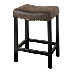 "Armen Living - Armen Living Tudor Backless 30"" Barstool in Wrangler Brown Fabric - Armen Living - Bar Stools - LCMBS013BAWR30 - The Tudor fabric backless barstool is in a rich looking saddle brown fabric with a brushed leather look and nailhead accents. Armen Living is the quintessential modern-day furniture designer and manufacturer. With flexibility and speed to market Armen Living exceeds the customer�s expectations at every level of interaction. Armen Living not only delivers sensational products of exceptional quality but also offers extraordinarily powerful reliability and capability only limited by the imagination. Our client relationships are fully supported and sustained by a stellar name legendary history and enduring reputation. The groundbreaking new Armen Living line represents a refreshingly innovative creative collaboration with top designers in the home furnishings industry. The result is a uniquely modern collection gorgeously enhanced by sophisticated retro aesthetics. Armen Living celebrates bold individuality vibrant youthfulness sensual refinement and expert craftsmanship at fiscally sensible price points. Each piece conveys pleasure and exudes self expression while resonating with the contemporary chic lifestyle."