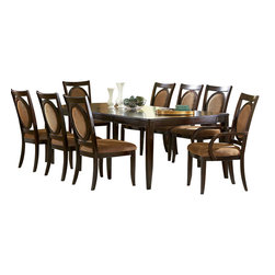 Steve Silver Furniture - Steve Silver Montblanc 9-Piece Dining Room Set with Leaf - With its simplistic features the Montblanc Dining Table with Two 18 Inch leaves brings style and sophistication to your entertaining area. The dining table is sleek yet sophisticated and will seat 8 comfortably. The optional Solid wood chairs, curio or server will add that extra touch of class.