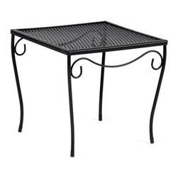 Woodard - Woodard Wrought Iron 19.5 Square Large End Table - The name Woodard Furniture has been synonymous with fine outdoor and patio furniture since the 1930s continuing the company�s furniture craftsmanship dating back over 140 years. Woodard began producing hand-made wrought iron furniture which led the company into cast and tubular aluminum furniture production over the years.� Most recently Woodard patio furniture launched its entry into the all-weather wicker furniture market with All Seasons which is expertly crafted and woven using synthetic wicker supported by an aluminum frame.� The company is widely known for durable beautiful designs that provide attractive and comfortable outdoor living environments.� Its hand-crafted technique used to create the intricate design patterns on its wrought iron furniture have been handed down from generation to generation -- a hallmark of quality unmatched in the furniture industry today. With deep seating slings and metal seating options in a variety of styles Woodard Furniture offers the designs you want with the quality you expect.  Woodard aluminum furniture is distinguished by the purest aluminum used in the manufacturing process resulting in an extremely strong durable product which still can be formed into flowing shapes and forms.� The company prides itself on the fusion of durability and beauty in its aluminum furniture offerings. Finishes on Woodard outdoor furniture items are attuned to traditional and modern design sensibilities. Nineteen standard frame finishes and nineteen premium finishes combined with more than 150 fabric options give consumers countless options to design their own dream outdoor space. Woodard is also the exclusive manufacturer of outdoor furnishings designed by Joe Ruggiero home decor TV personality.� The Ruggiero line includes wrought iron aluminum and all weather wicker designs possessing a modern aesthetic and fashion-forward styling inspired by traditional Woodard patio furniture designs. Rounding out Woodard�s offerings is a line of distinctive umbrellas umbrella bases and outdoor accessories.� These offerings are an integral part of creating a complete outdoor living environment and include outdoor lighting and wall mounted or free standing architectural elements � all made with Woodard�s unstinting attention to detail and all weather durability. Woodard outdoor furniture is an American company headquartered in Coppell Texas with a manufacturing facility in Owosso Michigan.� Its brands are known under the names of Woodard Woodard Landgrave and Woodard Lyon Shaw. With a variety of collections Woodard produces a wide array of collections that will be sure to suit any taste ranging from traditional to contemporary and add comfort and style to any outdoor living space. With designs materials and construction that far surpass the industry standards Woodard Patio Furniture creates beauty and durability that is unparalleled.  Features include Made of extremely durable wrought iron material Hand formed by skilled craftsmen to insure the strongest furniture in the industry Offered in wide selection of powder coated finishes manufactured to prevent rust Square corner chape Metal table top.