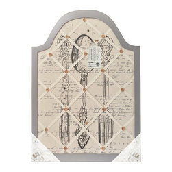 """Lightaccents - Home Office """"Music"""" Distressed Wood & Fabric Wall Memo Bulletin Board (Gray) - Antique Wooden Finish gives this Pin board a old world French country feel. Decorated in traditional French iconic images are printed on the fabric, this message holder immediately gives your room French country character."""