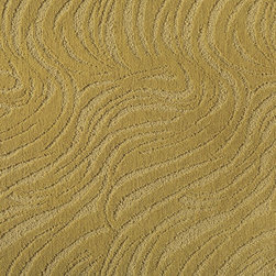 Making Waves Carpet Tiles - I am crazy about FLOR's creative carpet tiles, and this undulating wave-like pattern is no exception. Depending on the color, it can look subtle or, in this case, make a big splash in a room.