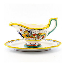 Artistica - Hand Made in Italy - Raffaellesco: Sauce Boat with Saucer - Raffaellesco Collection: Among the most popular and enduring Italian majolica patterns, the classic Raffaellesco traces its origin to 16th century, and the graceful arabesques of Raphael's famous frescoes.