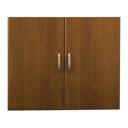 Bush Business - Office Bookcase Cabinet Door Kit in Warm Oak - Set mounts on Open Double Bookcase. Mounts one each on Open Single Bookcase. Mounts in lower position. Includes two non-handed doors. European-style, self-closing, adjustable hinges. 17.677 in. W x 0.748 in. D x 29.252 in. H