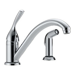 Delta - Delta 175-DST Classic Single Handle Kitchen Faucet with Spray (Chrome) - Delta 175-DST Classic Collection is designed to complement any homes design style  with simple and sensible style. The Delta 175-DST is a one handle Kitchen Faucet With Spray in Chrome.