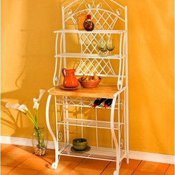 "Wildon Home � - Quincy Trellis Baker's Rack - A piece that solves so many storage issues, looks amazing, and is affordable. Is it possible? Yes! This Trellis baker's rack is that perfect piece, with detailed scrolling and decorative design. With built-in storage for up to 5 bottles of wine and 5 shelves to hold your china, jars, extra plates or even your microwave, this bakers rack can store almost anything. Features: -Powder-coated square steel, flat sheet metal and MDF.-4 Metal shelves and 1 wooden shelf for storage.-White finish.-Distressed: No.-Frame Material: Metal, Manufactured Wood.-Shelf Material: Metal; Wood.-Solid Wood Construction: No.-Rust Resistant: No.-Fade Resistant: No.-Scratch Resistant: No.-Tarnish Resistant: No.-Stain Resistant: No.-Adjustable Shelves: No.-Removable Serving Tray: No.-Wine Glass Storage: No.-Foldable: No.-Outdoor Use: No.-Swatch Available: No.-Commercial Use: No.-Recycled Content: No.-Eco-Friendly: No.-Product Care: Wipe clean with a dry cloth.Dimensions: -Shelf Height: 10"".-Shelf Width - Side to Side: Counter - 27""; Bottom - 26""; Under Counter Shelf - 26""; Above Counter Shelf - 27"".-Shelf Depth - Front to Back: Counter - 16""; Bottom - 11""; Under And Above Counter Shelves - 8.5""; Top Shelf - 8.5"".-Overall Product Weight: 42 lbs.Assembly: -Assembly Required: Yes.-Additional Parts Required: No.Warranty: -Product Warranty: 1 Year Limited Manufacture Warranty."
