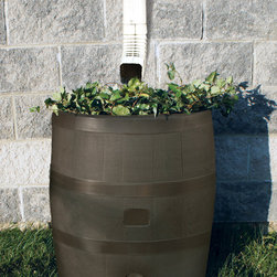 RTS Companies Inc - Round Rain Barrel with Planter - Mud - Embrace nature's solution to our emerging water shortage-collect rainwater! Our authentic oak barrel texture is molded into each barrel and will not fade, rot or risk insect infestation. The RTS Home Accents rain barrel has many unique features including a built in planter, linkable to other rain barrels for increased capacity, screen to keep out debris and insects, a shut off valve and hose hook up with dual overflow. 35 gallon capacity,Mud
