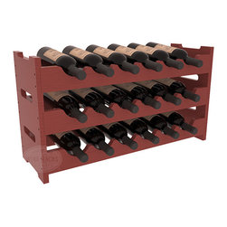 18 Bottle Mini Scalloped Wine Rack in Pine with Cherry Stain + Satin Finish - Stack three 6 bottle racks for proper storage of 18 wine bottles. This rack requires light hardware for assembly and is ready to use as soon as it arrives. Makes the perfect gift and stores wine on any flat surface.