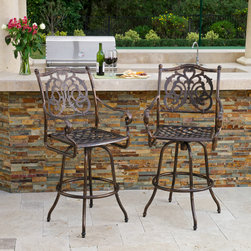 Great Deal Furniture - Arlington Cast Aluminum Copper Finish Bar Stools (Set of 2) - The Arlington bar stools will bring luxury and convenience to your outdoor space. Made from cast aluminum, these durable high quality stools features intricate details on the backrest and a diamond-mesh seat rest. The antique shiny copper finish is neutral to match any outdoor furniture and will hold up in any weather condition. Whether in your backyard, patio, deck or even your restaurant outdoor dining space, you'll enjoy these stools for years to come.