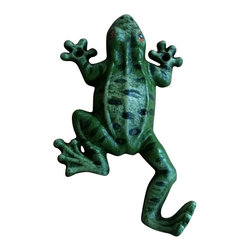 """AJ Tools - Cast Iron Single Hook Frog Wall Hanger - Cast iron single hook green frog wall hanger. Measures 6 """" x. No assembly required."""