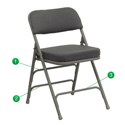 Flash Furniture - Flash Furniture Hercules Series Metal Folding Chair - Gray - The triple braced Hercules Series folding chairs are our best folding chairs ever. When in need of temporary seating this heavy duty gray metal frame chair with gray fabric padded seat and back is perfect. This portable folding chair can be used for parties, graduations, sporting events, school functions and in the classroom. This chair will be the perfect addition in the home when in need of extra seating to accommodate guests. The chair will not take up anywhere near as much space as chairs that cannot fold when it comes time to clean up. This economically priced chair will endure some heavy usage with an 18-gauge steel frame, triple braced and leg strengthening support bars. [HA-MC320AF-GRY-GG]
