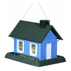 NORTH STATES INDUSTRIES - LARGE BLUE COTTAGE BIRDFEEDER - Can be used as a hanging feeder or pole mounted (pole sold separately). Durable design. Holds regular sunflower or thistle seed through lift-off chimney.          8 Lb. Capacity  Size In LxWxH=14.25 x 10.5 x 11.5  This item cannot be shipped to APO/FPO addresses.  Please accept our apologies