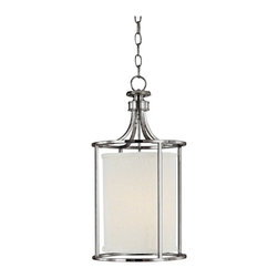 "Lamps Plus - Contemporary Midtown Polished Nickel Circular 11"" Wide Foyer Chandelier - An interesting circular shape makes this two light pendant foyer chandelier a remarkable find. The polished nickel finish sets off the white shade beautifully. The frosted glass diffuser helps to distribute the light softly. Polished nickel finish. Frosted glass diffuser. Takes two 40 watt bulbs (not included). Includes 10 ft chain and 15 ft wire. Canopy is 5"" wide. 11"" wide. 21 1/4"" high.  Polished nickel finish.   Frosted glass diffuser.   Takes two 40 watt bulbs (not included).   Includes 10 ft chain and 15 ft wire.   Canopy is 5"" wide.   11"" wide.   21 1/4"" high."