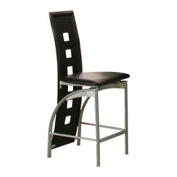 Cramco - Cramco Valencia Platinum and Black 24 inch Counter Height Stool (Set of 2) - Features: