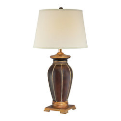 Lite Source - Table Lamp - Brown/Antique Gold/White Fabric Shade - Table Lamp - Brown/Antique Gold/White Fabric Shade