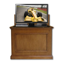 """Touchstone Home Products - Elevate Honey Oak TV Lift Cabinet for Flat Screen up to 42"""" - The Elevate by Touchstone has the smallest footprint of any TV Lift Cabinet, but will accommodate flat screen televisions up to 42"""" wide. With the Elevate TV Lift Cabinet in a elegant antique honey oak finish, you won't have to sacrifice your home's decor for your flat screen TV and the quality antique honey oak finish will simply wow you. The Elevate's four-sided finish gives consumers the versatility to have amazing flat screen viewing at the foot of the bed, in the living room, or anywhere in the home. Included in the Elevate Honey Oak is Touchstone's Whisper Lift II TV Lift, which fully raises or lowers your flat screen TV in less than 30 seconds, and reaches an extended height of 65.5""""."""