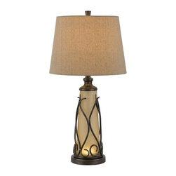 Cal Lighting - Cal Lighting BO-2348TB Taylor 1 Light Pedestal Base Table Lamp - Features:
