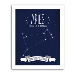 Aries Constellation Print, 8x10 - Aries traits featured in the banner: Daring • Courageous • Energetic * Vibrant • Strong • Quick-Witted
