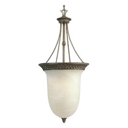 Progress Lighting - Progress Lighting Savannah Traditional Inverted Pendant Light X-68-3453P - This Traditional Inverted Pendant Light stands out from the others with its dome and inverted shade design. It features 3 lights and the shade is created with antique alabaster glass finished in burnished chestnut. The detailing in this fixture is found in the rim that is engraved with a pineapple pattern.