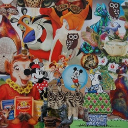 """""""Animals In Art"""" (Original) By Kathleen Fallucca - Animals In Art Came From Finding Lots Of Pictures Of Animals That Were Stuffed Or Figurines Or Pieces Of Jewelry Or Cartoons Of Childhood Advertising Figures.   After Going Through My Animals And Misc Other Folders, I Realized I Had More Than Enough Images To Create This 16 X 20 Sized Collage.  Currently Unframe"""
