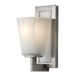 Feiss Lighting - Single-Light Wall Sconce - VS16601-BS - Contemporary / modern brushed steel 1-light sconce. This single-light wall sconce Backplate measures 10-inches in height by 4-1/2-inches in width. Takes (1) 100-watt incandescent A19 bulb(s). Bulb(s) sold separately. Damp location rated.