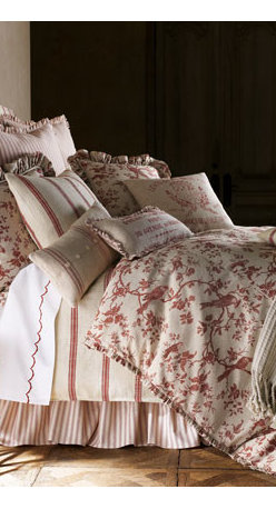 """French Laundry Home - French Laundry Home Toile Queen Duvet Cover - All cotton Select color when ordering. Dry clean. 86"""" x 90"""". From French Laundry Home. USA/imported."""