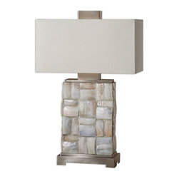 Uttermost - Uttermost 26448-1  Calaveras Mother Of Pearl Lamp - Pieced mother of pearl tiles accented with brushed aluminum details.