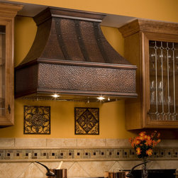 """36"""" Tuscan Series Copper Wall-Mount Range Hood - Riveted Bands - Add the stunning 36"""" Tuscan Series Copper Wall-Mount Range Hood, which features decorative riveted bands to complete your gourmet kitchen."""