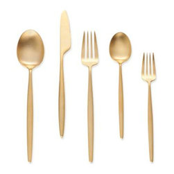 """""""Night"""" 5 Piece Place Setting, Gold - I don't think a place setting could get any more luxurious than this gold place setting."""